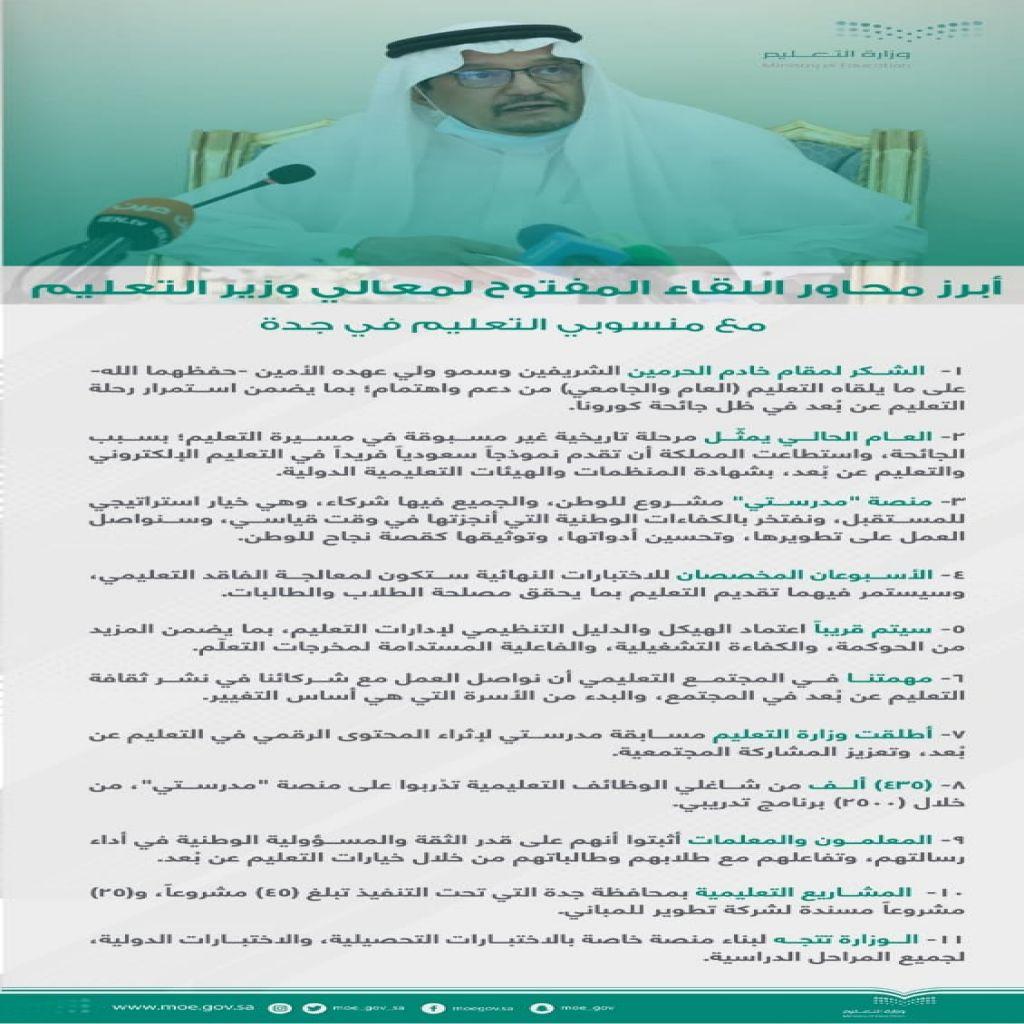 محاور لقاء  وزير التعليم مع منسوبي التعليم في جدة