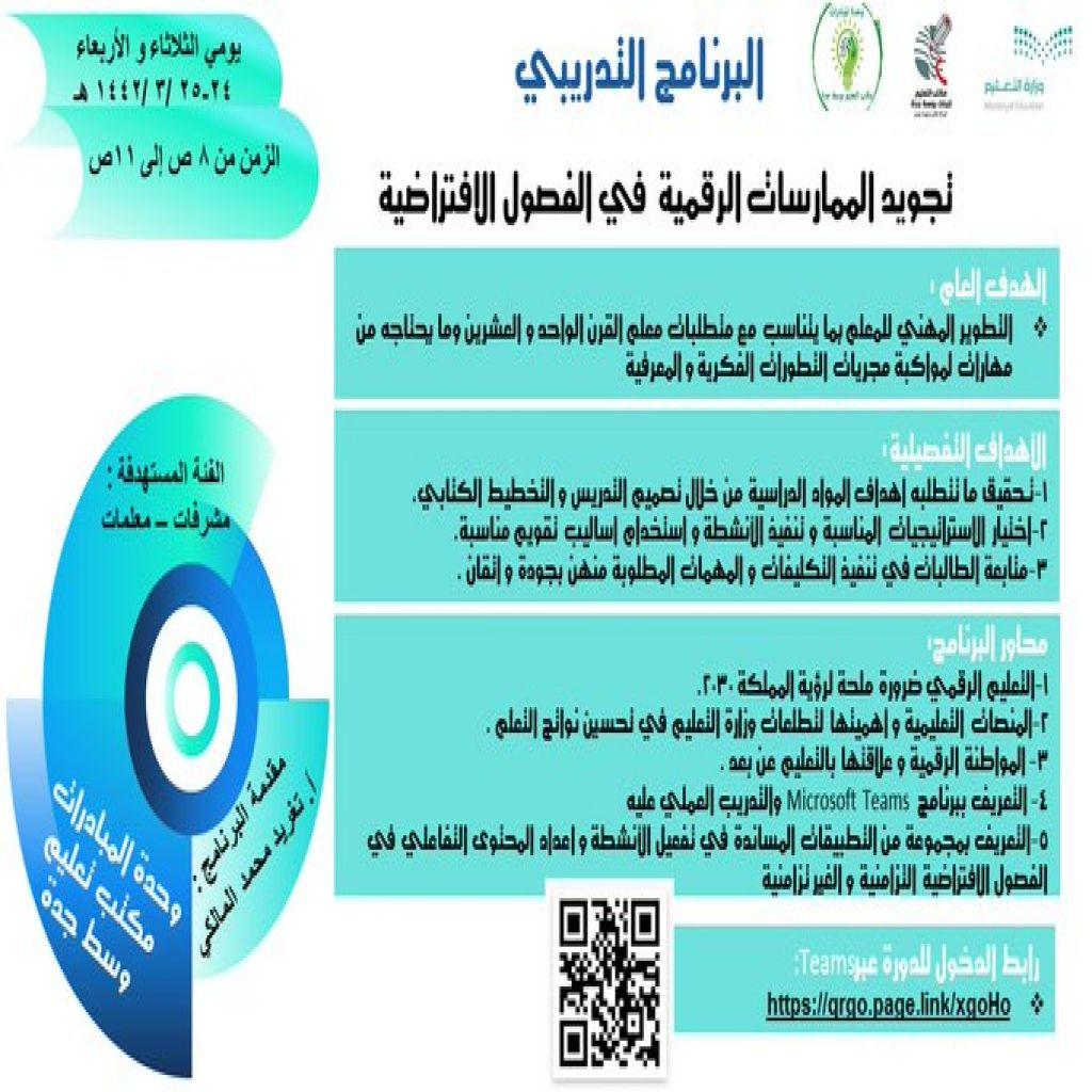 برنامج تدريبي بعنوان ( تجويد الممارسات الرقمية في الفصول الإفتراضية)